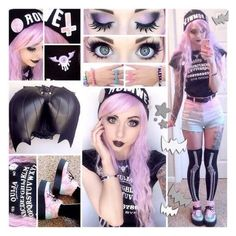 pastel goth pink sweatshirt ❤ liked on Polyvore featuring tops, hoodies, sweatshirts, pastel goth tops, pastel goth sweatshirt, pink top, pink sweatshirts and goth tops