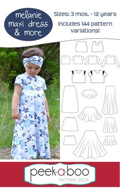 Sewing For Beginners Projects Peek-a-Boo Pattern Shop carries printable sewing patterns for children and adults. It's where fashion meets fun! - Description The Melanie Maxi Dress Sewing Basics, Sewing Hacks, Sewing Tutorials, Sewing Crafts, Sewing Tips, Sewing Ideas, Basic Sewing, Love Sewing, Sewing For Kids