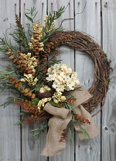 Elegant Cream Hydrangea Eucalyptus Burlap Bow by FloralsFromHome, $89.00 Free Shipping!  http://floralsfromhome.com