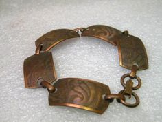 "Vintage Copper Paisley Designed  Bracelet, 7.5"" and 2/3"" wide, 1960-70's…"