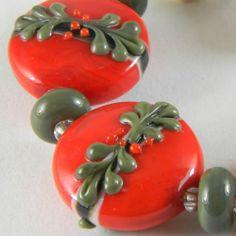GMD Lampwork Beads SAINT NICK 5 christmas button orrbs 6 spacers artisan SRA