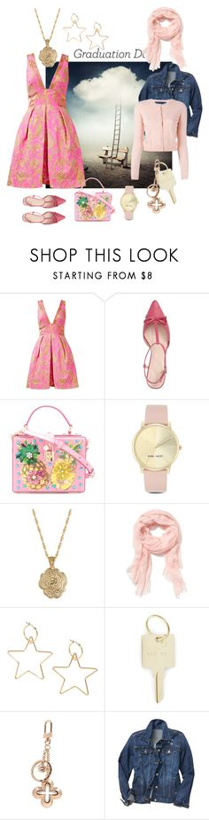 """#GraduationStyle Pink Peony"" by crimsonboudoir ❤ liked on Polyvore featuring Notte by Marchesa, Kate Spade, Dolce&Gabbana, Nine West, 2028, Old Navy, The Giving Keys, Louis Vuitton, Gap and RED Valentino"