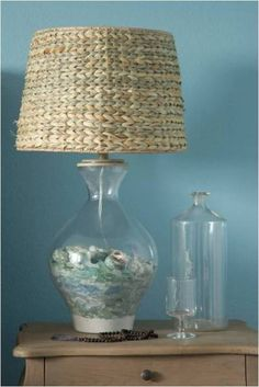 we have these lamps in our bedroom in FL...I love the idea of putting seaglass in them instead of shells