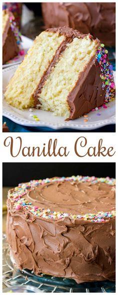 The Best Vanilla Cake Recipe via @sugarspunrun
