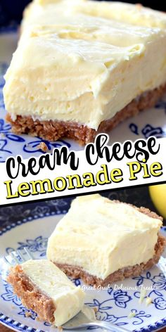 Cream Cheese Lemonade Pie is a deliciously lemony, tart, no bake, pie that is so easy to make and super delicious. Lemon Desserts, Lemon Recipes, Köstliche Desserts, Sweet Recipes, Dessert Recipes, Plated Desserts, Dessert Simple, Pie Dessert, Eat Dessert First