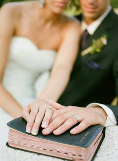 """""""Marriage is God's arrangement. By him it was designed. It forms a bond of union, Brings blessings to mankind. Yoking a man and woman In this most sacred state Helps them serve God together, Each one with his own mate. God has an ancient guidebook With counsel good and wise. It tells of godlike headship, Which husbands exercise. 'Love her as your own body.' This God requires of them. She who respects her husband Is like a precious gem."""" <3"""
