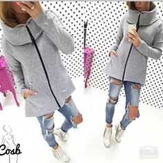 Grey Casual Jacket Cute casual jacket with zipper in the front & roll like collar. Jacket has two pockets in the front & comes right to hips. Grey only. Fleece material Cycle Boutique Jackets & Coats