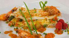 Saber Cocinar - Lasaña  gratinada de verduras con langostinos