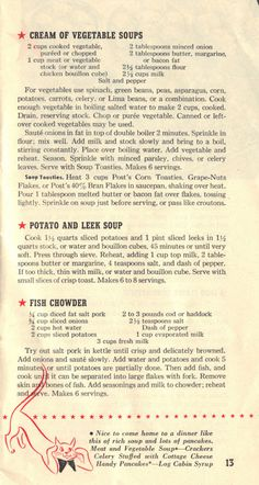 """WWII Pamphlet, """"Recipes for Today,"""" published by General Foods Corporation, 1943 ~ page 13 Retro Recipes, Old Recipes, Vintage Recipes, Cooking Recipes, Healthy Recipes, Cream Of Vegetable Soup, Vegetable Soups, War Recipe, Wartime Recipes"""