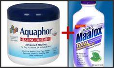 Equal parts aquaphor and maalox for diaper rash relief.