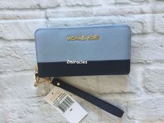 MICHAEL KORS Jet Set Zip Around Colorblock Blue Leather Wallet Leather NWT #MichaelKors #Wristlet