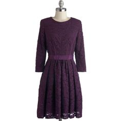 Under the Grape Arbor Dress ($96) ❤ liked on Polyvore featuring dresses, modcloth, vestidos, solid, purple, pleats, party, a-line, mid-length and long sleeves