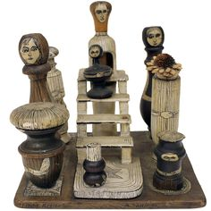 """1930-40's American Folk Art Sculpture """"Family Affair"""" by Shapiro 