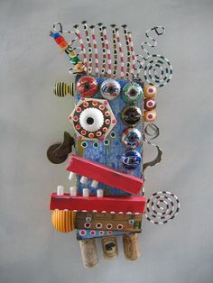 Board Member Original Found Object Sculpture Wall Art by