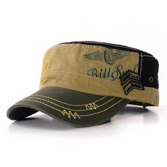 e4dff173357 Fashion Flat Roof Military Hat Caps Unisex Mens Army Sun Hats Outdoor  Camping Cap