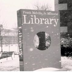 Let it snow....Melville Library, Stony Brook University, 2003 (credit: University Archives, Stony Brook University).