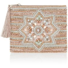 Accessorize Anna Embellished Zip Top Purse ($20) ❤ liked on Polyvore featuring bags, handbags, zip top bag, flower purse, beaded handbag, hand bags and man bag