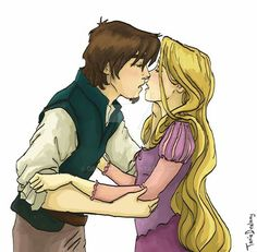 Rapunzel and Flynn -by Dralamy