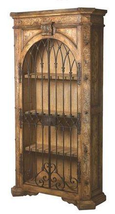 Red Baroque Armoire With Wrought Iron Gate. Baroque Armoire With Wrought… Iron Furniture, Deco Furniture, Mexican Furniture, Refinished Furniture, Upholstered Furniture, Furniture Ideas, Wrought Iron Decor, Wrought Iron Fences, Armoire