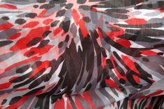 A615 Voile fantasie rood/grijs