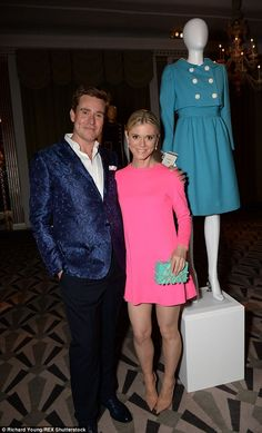 Tickled pink: Emilia Fox dazzled in a hot pink frock as she chatted to William among some ...