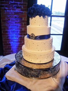 Cake Scrolled Wedding Blue And White Ithaca Cakes more at Recipins.com