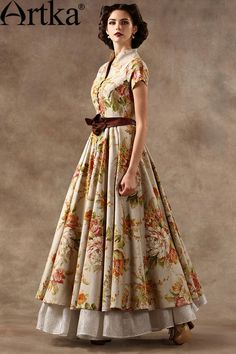 Artka Akkadian Gone with the Wind 2015 spring new high-end luxury gifts LA19153C long dress belt - Taobao
