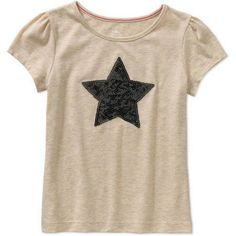 365 Kids from Garanimals Girls' Short Sleeve Solid Tee with Heat Seal, Girl's, Size: 7, Beige
