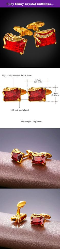 Ruby Shiny Crystal Cufflinks Elegant Style Women Men 18K Gold Plated Fancy Stone Cuff Links. Cufflinks 1 pair, red fancy stone,shiny and elegant. Packaged in a Black Gift Box. Suit for both men and women More cufflinks pattern,please visit U7 Jewelry store front, and search cufflinks.