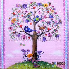 Servetele cu flori : Servetele - Copacul dragostei - 33x33cm, 4 buc