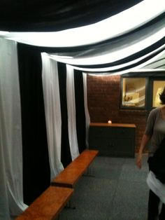 Black and White Marquee made by Little Curio Hire and external. We made this to enclose a deck at a home for a Black and White themed party.