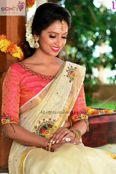 Whatsapp on 9496803123 for customisation of handwork and cutwork Kerala Saree Blouse Designs, Saree Blouse Neck Designs, Dress Neck Designs, Blouse Patterns, Embroidery Patterns, Set Saree Kerala, Kerala Traditional Saree, Kasavu Saree, Onam Saree