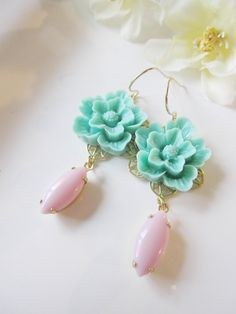 Turquoise Blossom Earrings with Pink Oval Dangles - Gold Flower Earrings - Perfect for Spring, Wedding or Evening Wear. $22.00, via Etsy.
