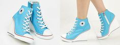 Wish   Converse all star chucks blue wedges heels shoes super cute  Good for a wedding I wanna wear it xD good boots for winter