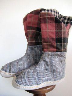 Slipper Boots Grunge Plaid Ladies Wool Handmade by stitchingbevy, $35.00