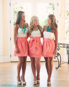 The Carolina Bow Skirt (Bridal) -Cute spring/summer outfits...coral skirts, bow, white tanks and turquoise necklaces, nude pumps