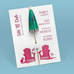 Easily personalized and shipped in a snap! Find fun save the dates perfect for a destination wedding like this Kickin& Back Umbrella save the date from Invitations by Dawn. Diy Invitations, Bridal Shower Invitations, Invitation Design, Wedding Stationery, Invitation Cards, Beach Party Invitations, Invitation Ideas, Diy Save The Dates, Ideas Party