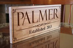 Carved Wood Sign: Business Name Personalized Established Date Pub Sign Marriage Sign Wedding Anniversary Cherry 9x23 PP