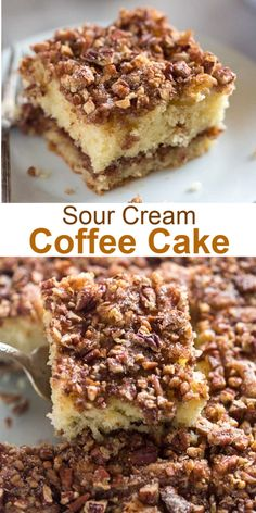 This simple Sour Cream Coffee Cake has a crunchy cinnamon pecan topping inside and is made with basic pantry ingredients coffeecake brunch easy cake breakfast dessert Food Cakes, Cupcake Cakes, Cupcakes, Easy Desserts, Dessert Recipes, Brunch Recipes, Easy Dinner Recipes, Easy Meals, Sour Cream Coffee Cake