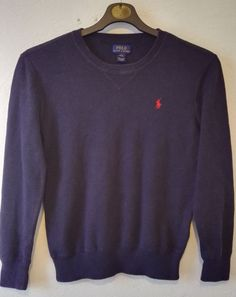 POLO Ralph Lauren Boys Crew Neck Jumper Navy Pony Embroidered Logo Size L 14 16