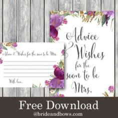 FREE Purple Gold Floral Advice and Wishes Printable Free Bridal Shower Games, Wedding Shower Games, Table Signs, Free Wedding, Tiffany Blue, Purple Gold, Wedding Table, Free Printables, Advice