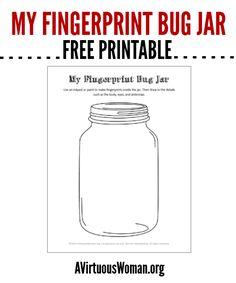 Enjoy my free printable Fingerprint Bug Jar. Your child will love this simple but fun craft!
