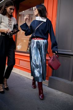 This time of year I like a little flair and fun in my outfit.  Pleated midi skirts (especially in a fun metallic hue) areall the rage an...