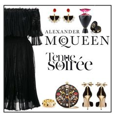 """Black"" by ladychatterley ❤ liked on Polyvore featuring Alexander McQueen, Gucci, Lalique, Bulgari, Oscar de la Renta, black, AlexanderMcQueen, oscardelarenta and blackdress"