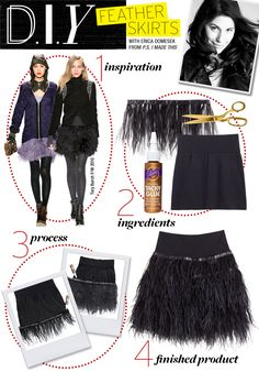 Thank You What Not To Wear for this D.I.Y Black Ostrich Feathered Skirt recipe! These play by play instructions will take your ordinary black mini from Drab to FAB! Get your Black Ostrich Fringe/Trim from The Feather Place!