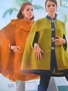 2 Knitted Cape Patterns  1960's Vintage by vintageknitcrochet, $4.00