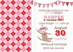 Girl SOCK MONKEY invitation  with or by PrettyPartyCreations, $11.50