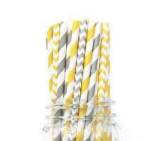 Paper Straws, Grey Paper Straws, Yellow Straws, Chevron Stripe, Grey Wedding Baby Shower Kids Birthday Party Wedding Table Setting, USA