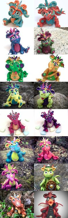 Polymer Clay Dragons by KatersAcres   #Dragons are handmade in USA & available for adoption on Etsy