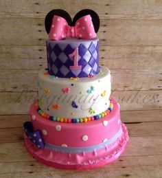 3-Tier Minnie Mouse Inspired Birthday Cake by PromiseToppers on Etsy https://www.etsy.com/listing/248014402/3-tier-minnie-mouse-inspired-birthday